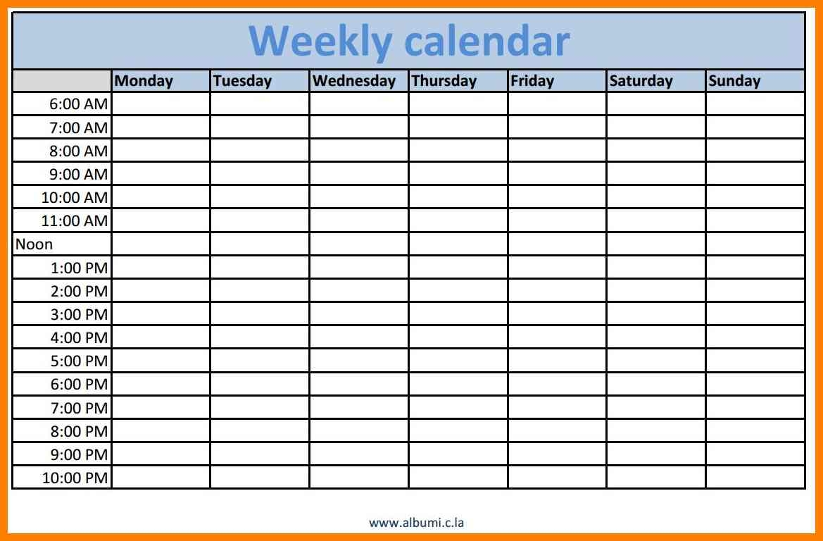 9 Calendar With Time Slots Cashier Resumes  Xjb