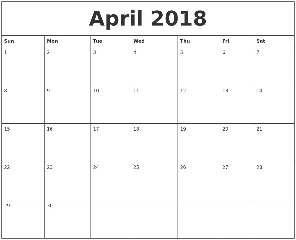 April 2018 Large Printable Calendar 89uj