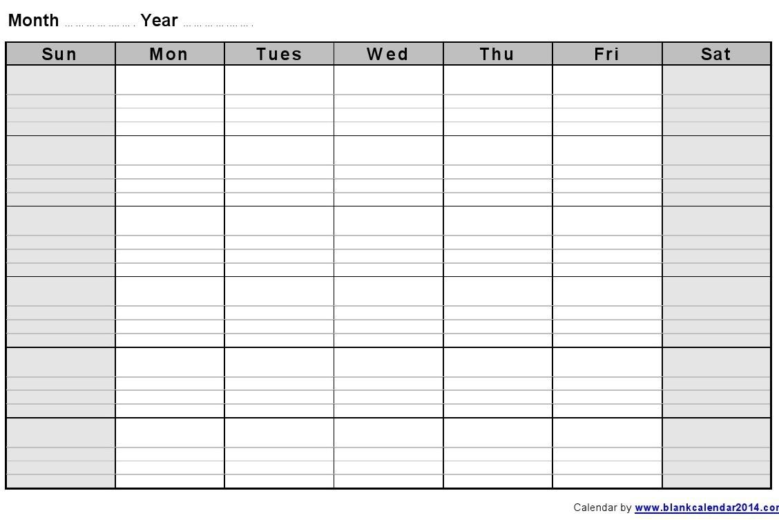 Blank Monthly Calendar Template Printable Calendar Templates 2018