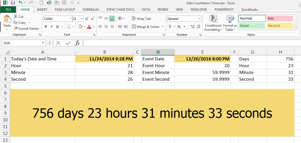Create A Countdown Timer With Dates In Excel Steve Chase Docs