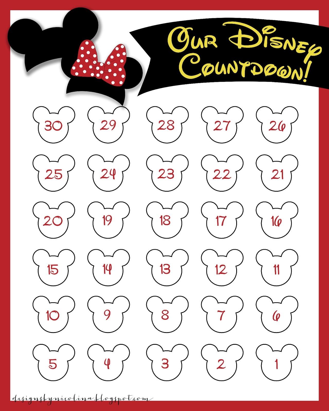 Designs Nicolina Disney Countdown Free Printable Freebies  Xjb
