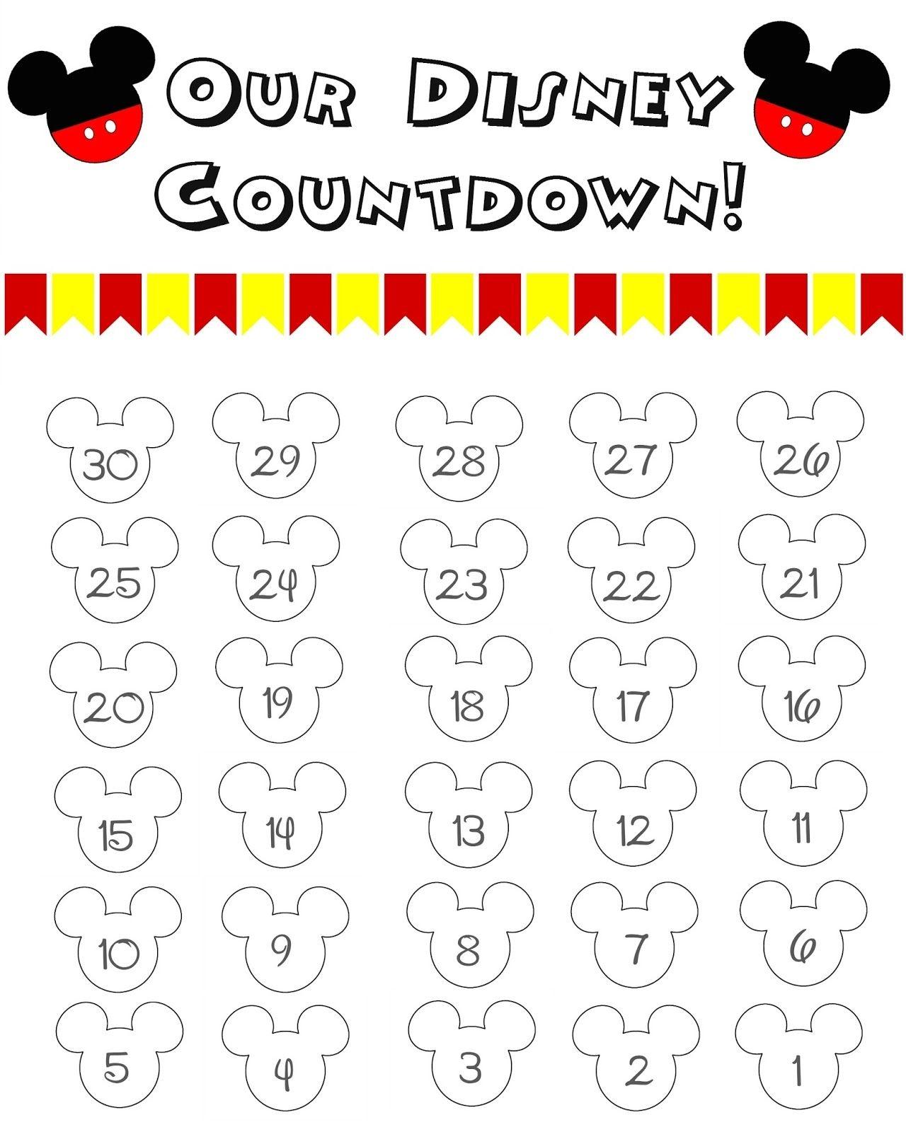 Disney World Countdown Calendar Free Printable Disney Countdown  Xjb