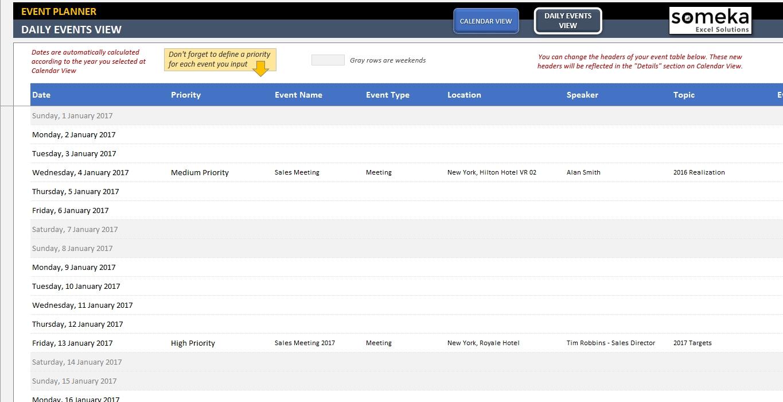 Dynamic Event Calendar Interactive Excel Tempate  Xjb