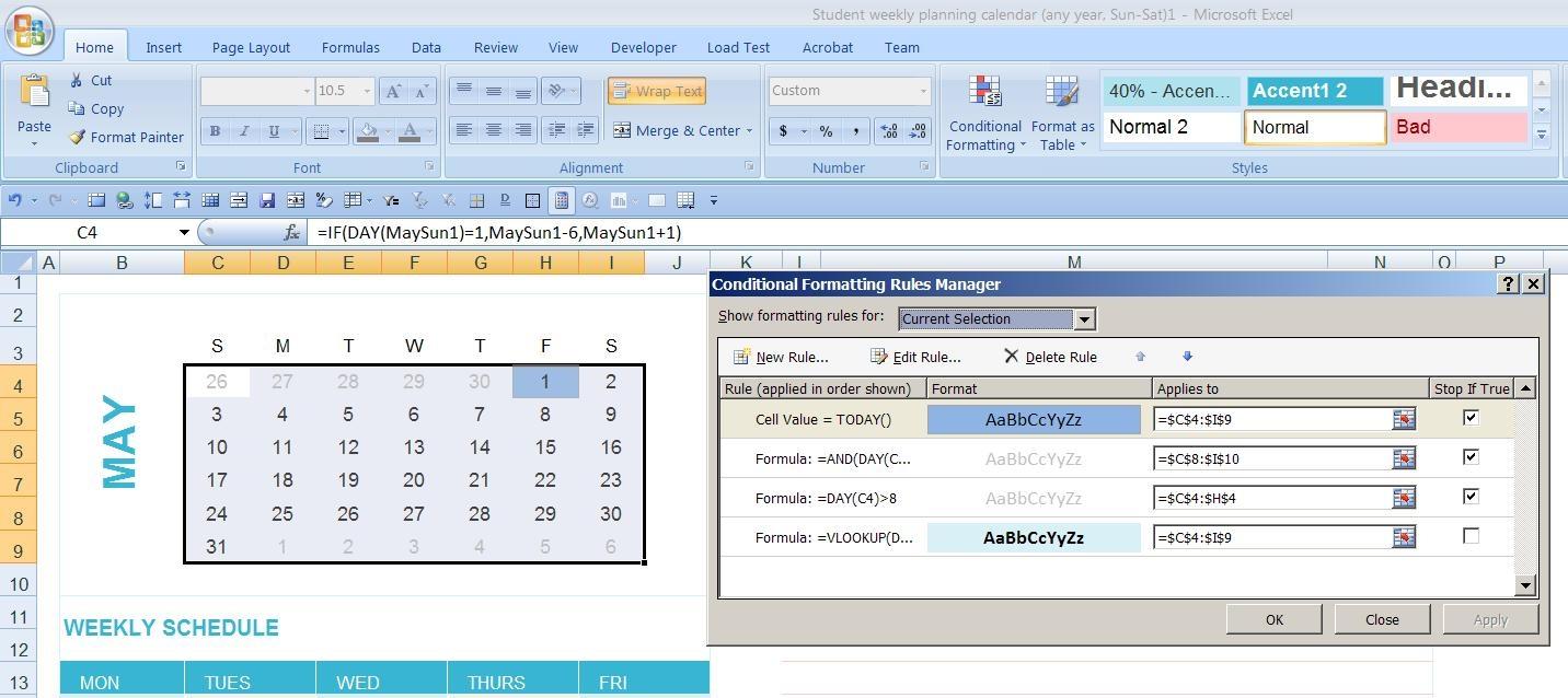 Dynamic Monthly Excel Calendar Super User  Xjb