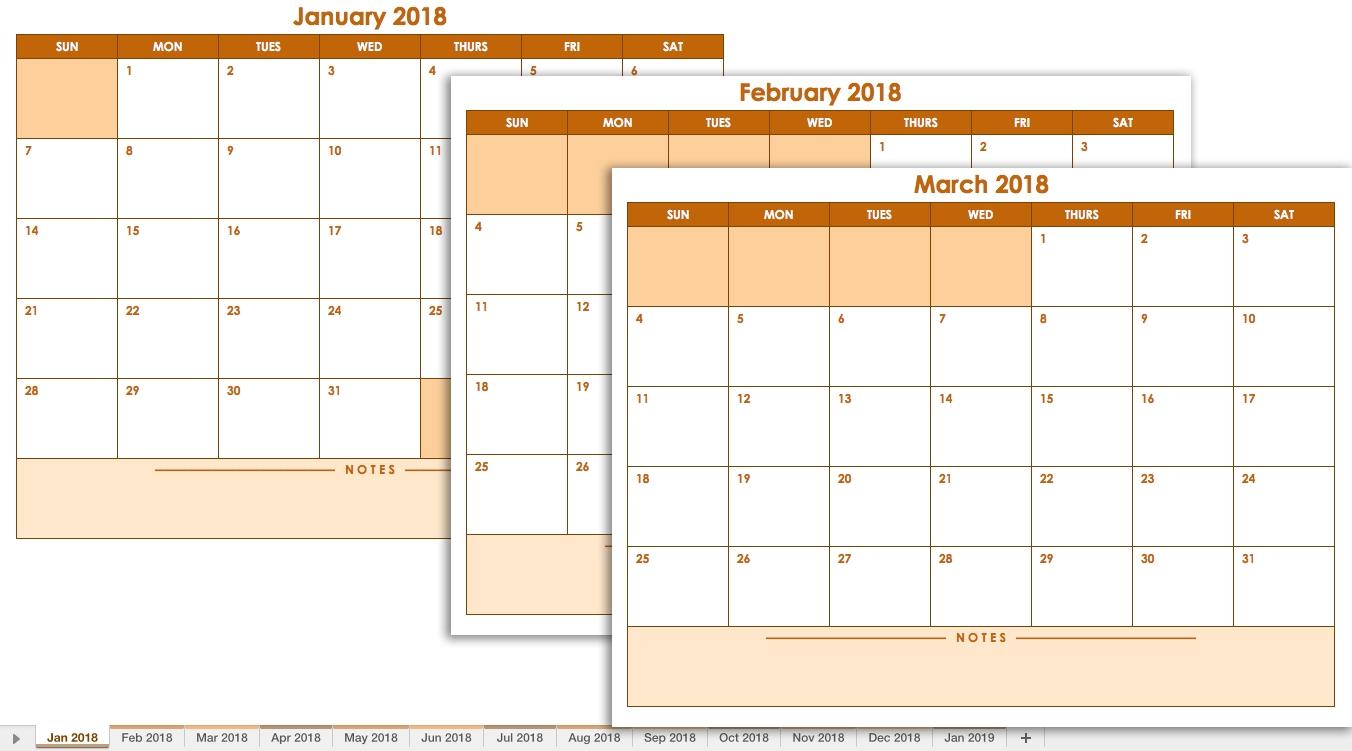 Free Excel Calendar Templates  Xjb