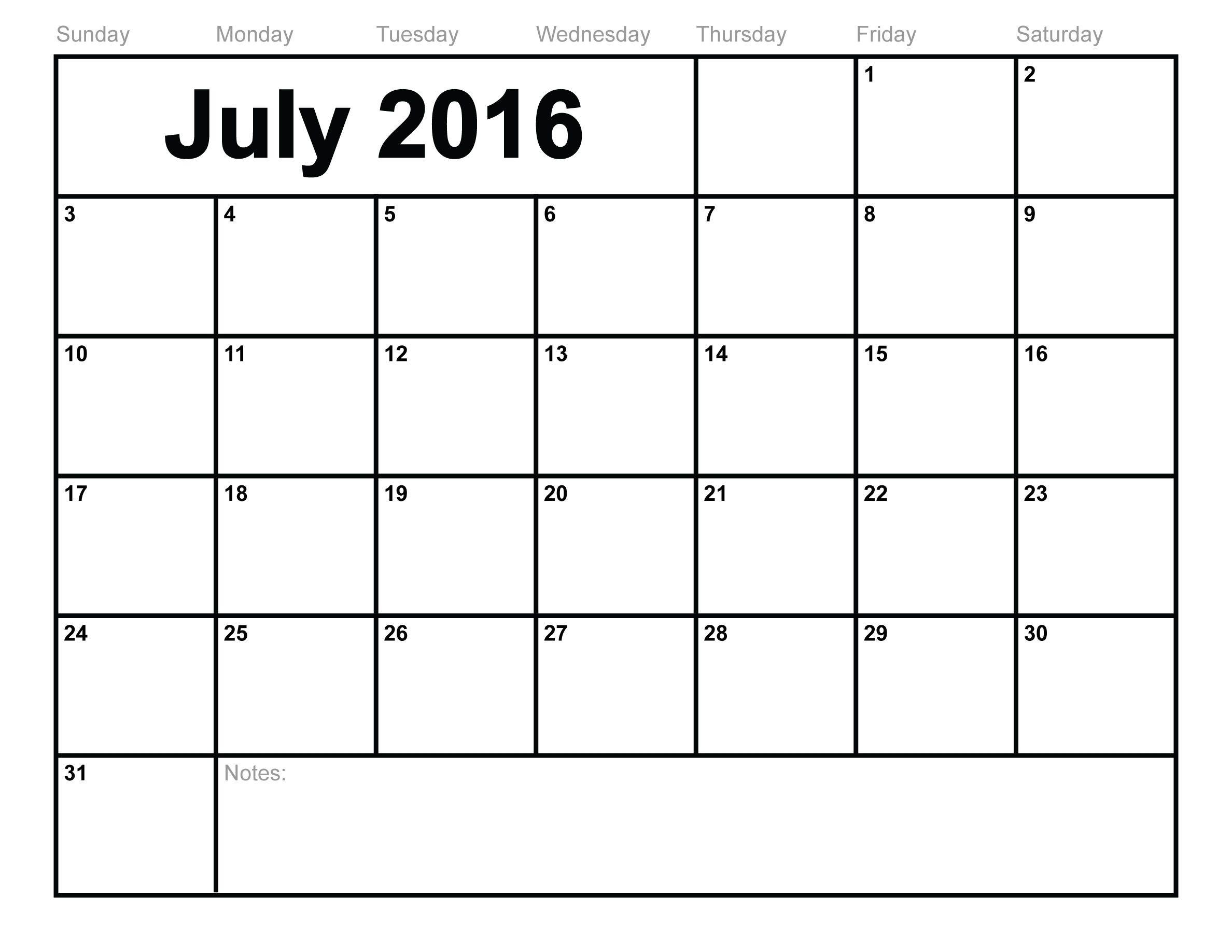 Free July 2016 Printable Calendar Calender Pinterest3abry