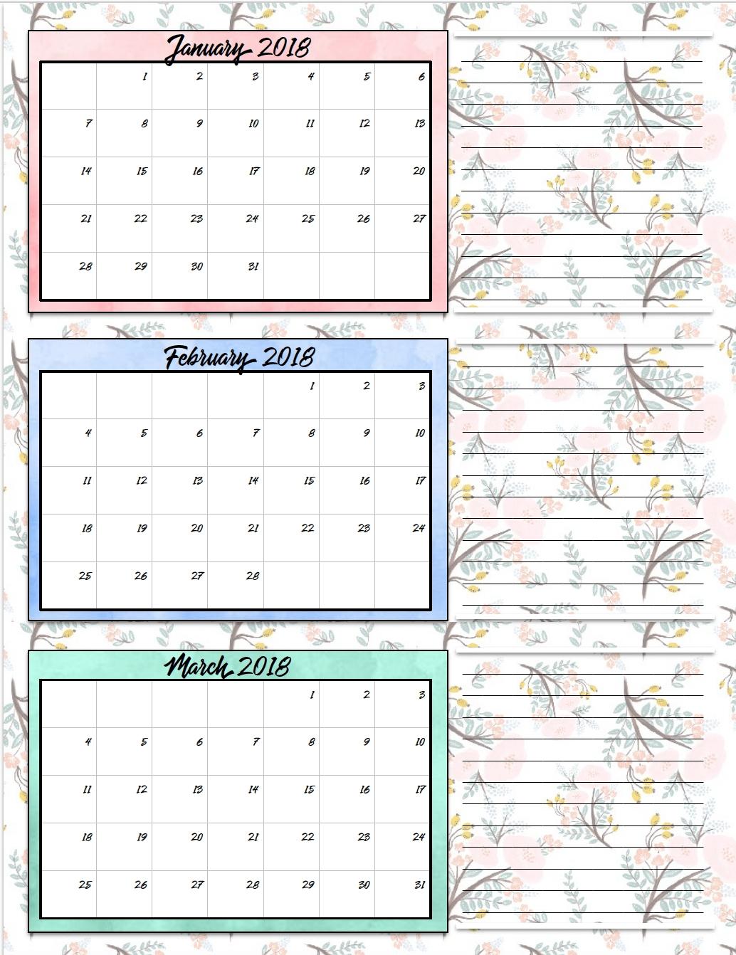 Free Printable 2018 Quarterly Calendars 2 Designs3abry