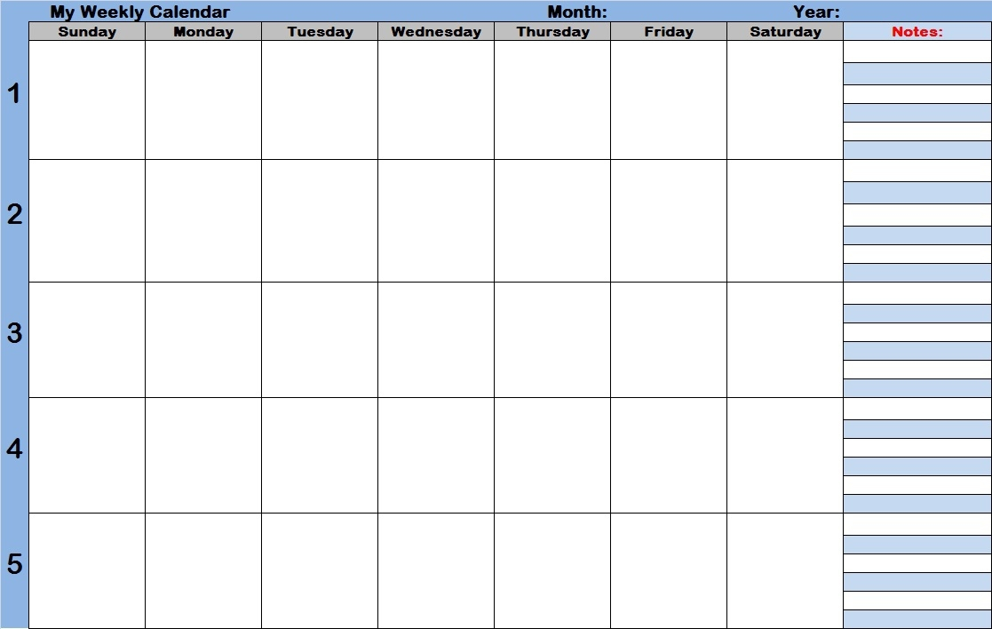 Free Printable Weekly Calendar With Time Slots Printable  Xjb