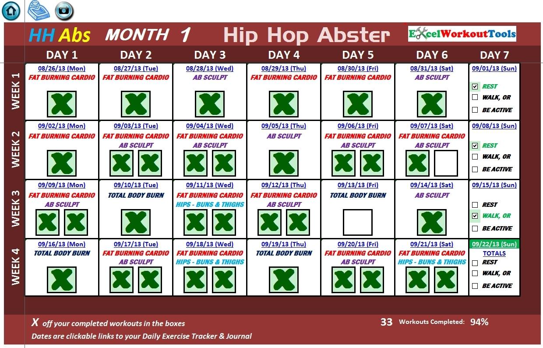 Hip Hop Abs Workout Calendar Workout Schedule  Xjb