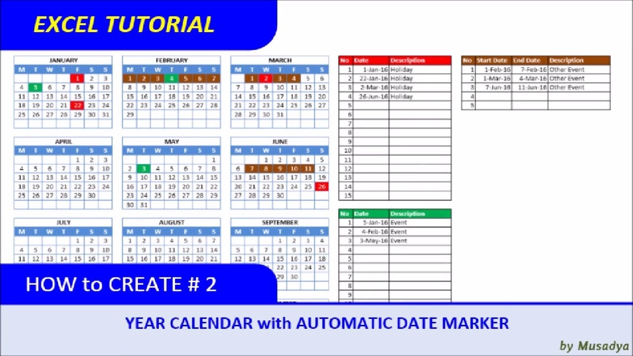How To Create Excel Calendar For Specific Year With Automatic Date  Xjb