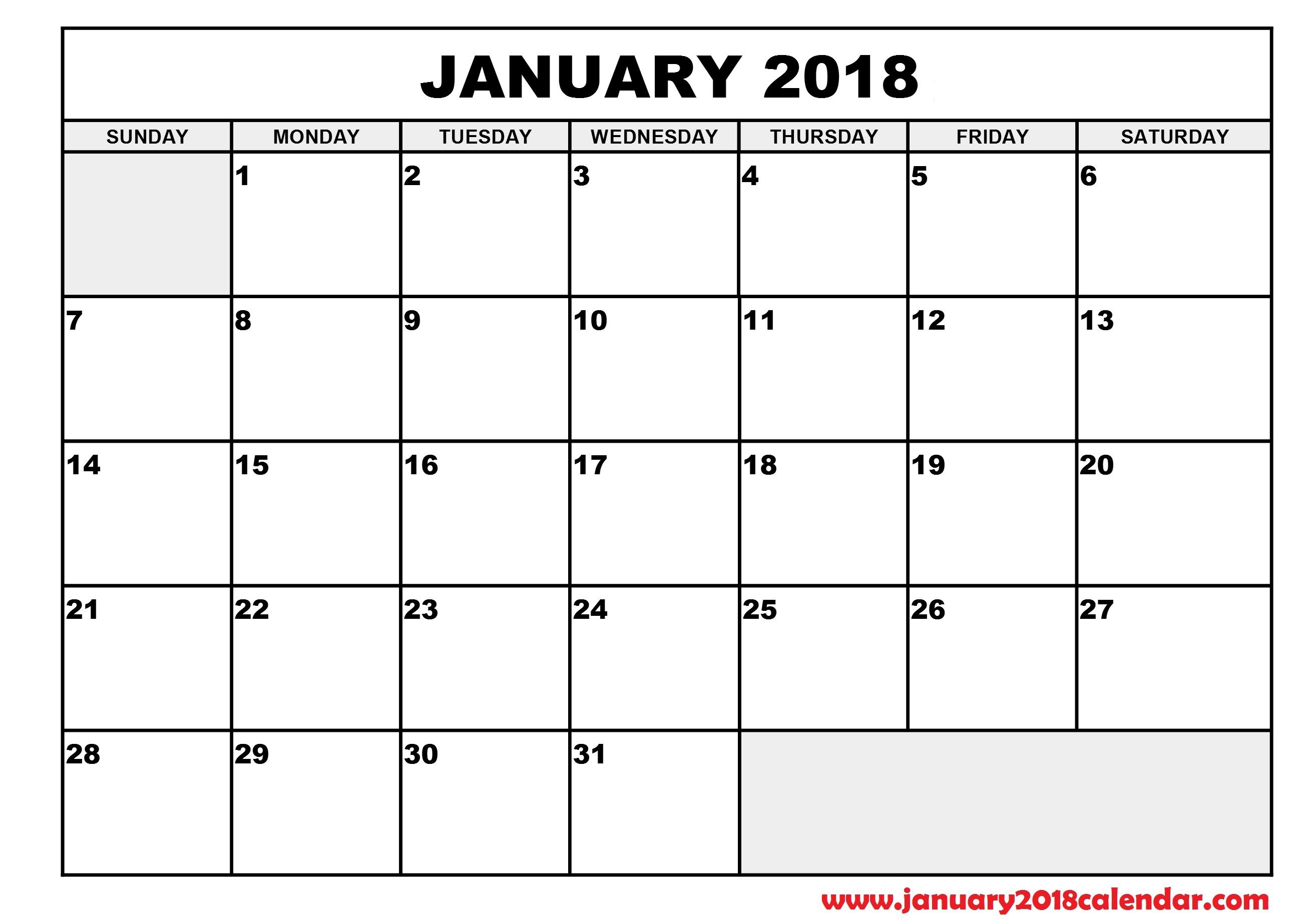 January 2018 Calendar Printable Calendar Templates3abry