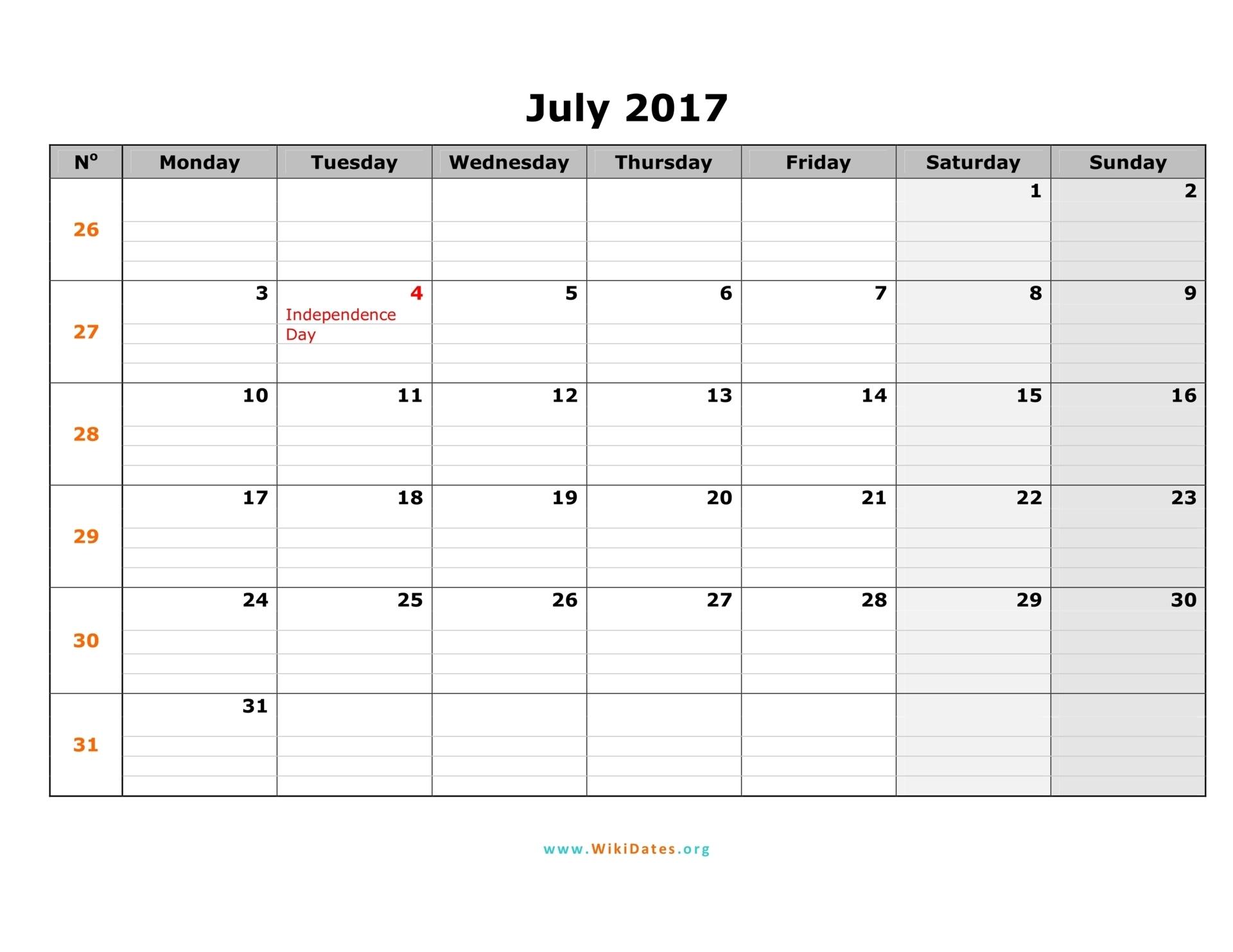 July 2017 Calendar Editable3abry