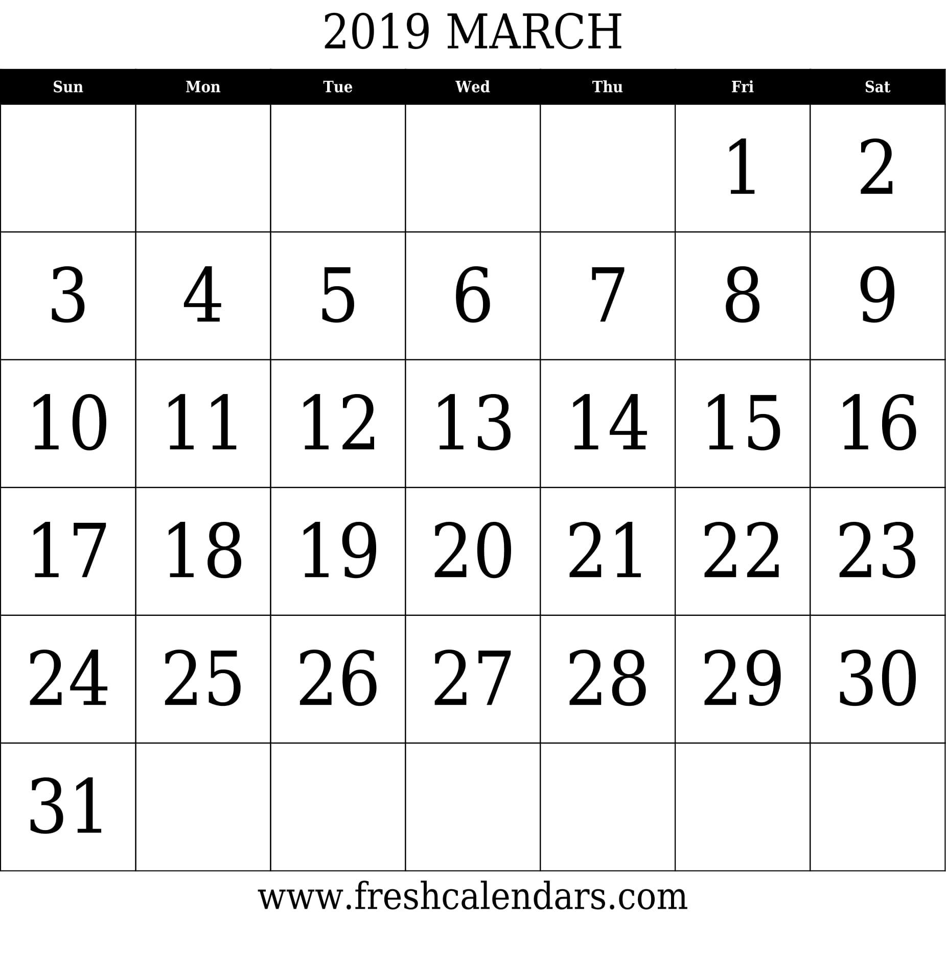 March 2019 Printable Calendar Templates3abry