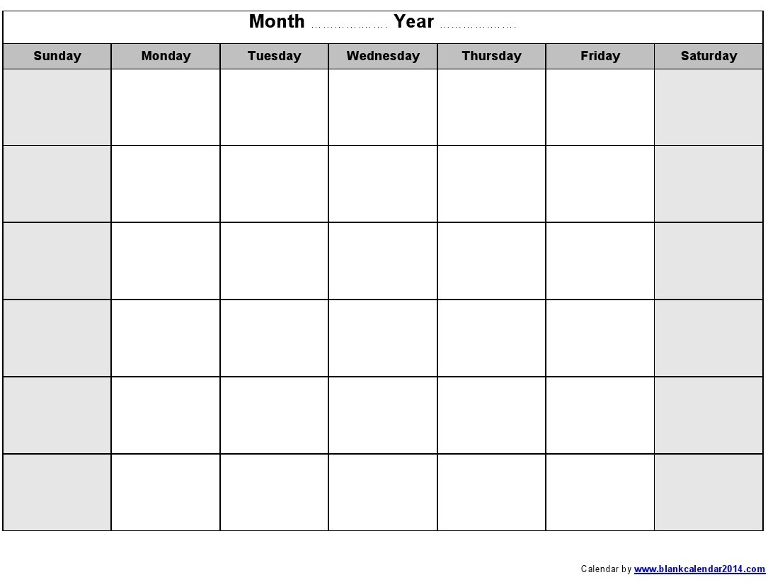 Monday To Sunday Calendar Template Blank Calendar 2018