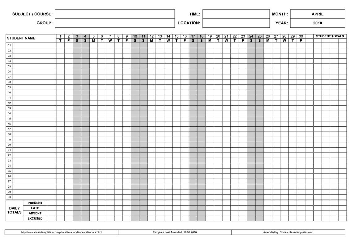 Printable 2017 Employee Attendance Calendar 3 Calendar  Xjb