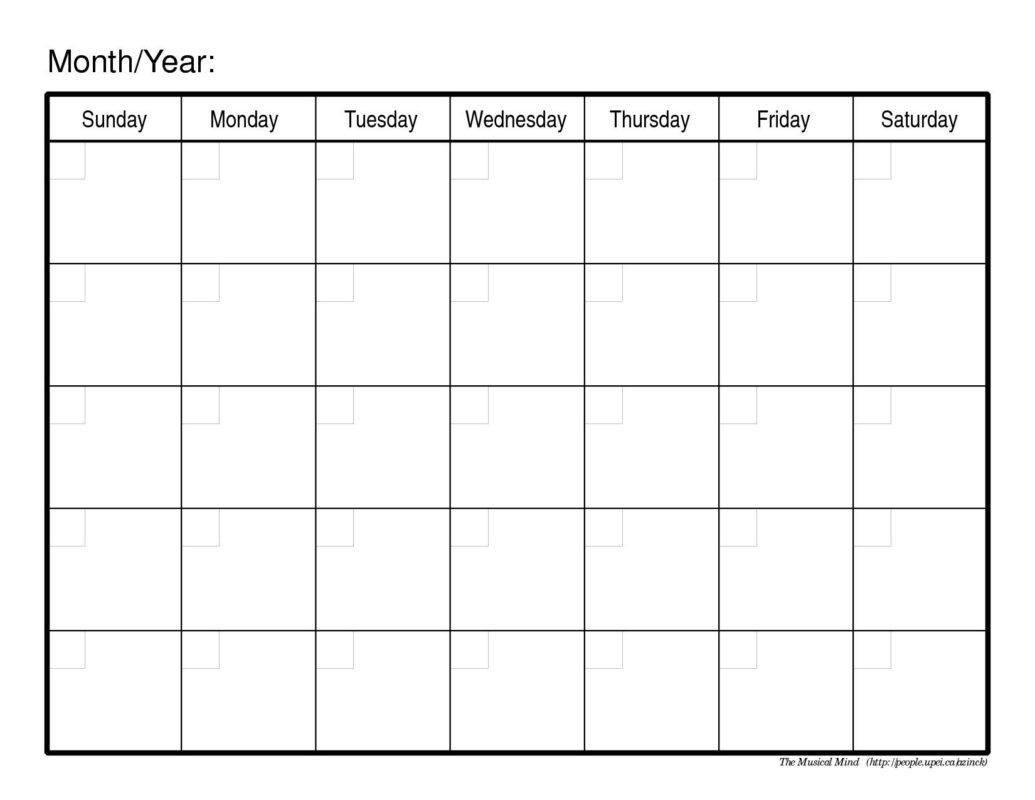 Printable Monthly Calendar Template Onlyagame 89uj