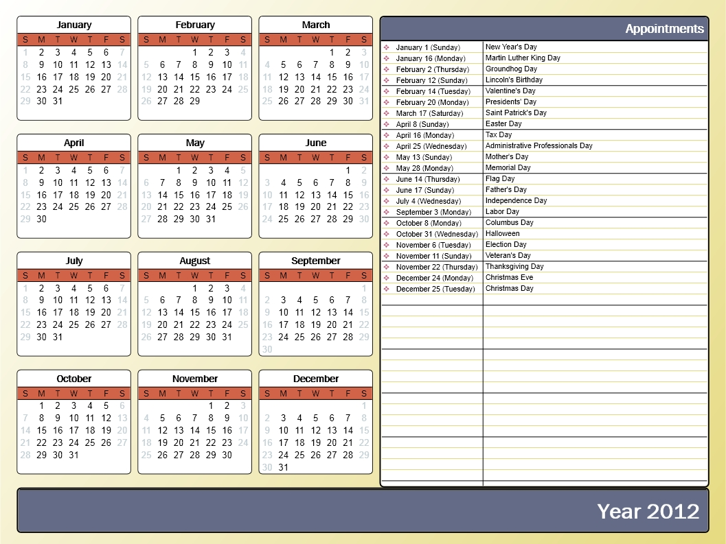 Printing A Yearly Calendar With Holidays And Birthdays Howto Outlook3abry