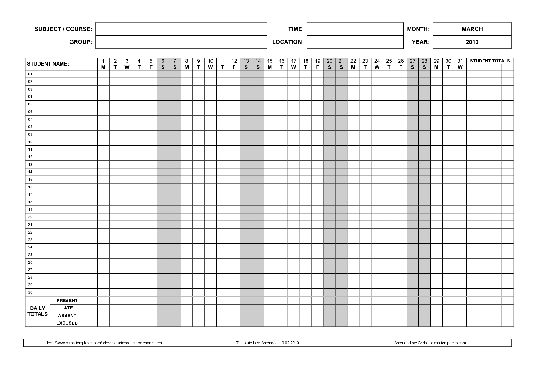 Student Attendance Sheet Tracker Template For Teachers Or Tutors  Xjb