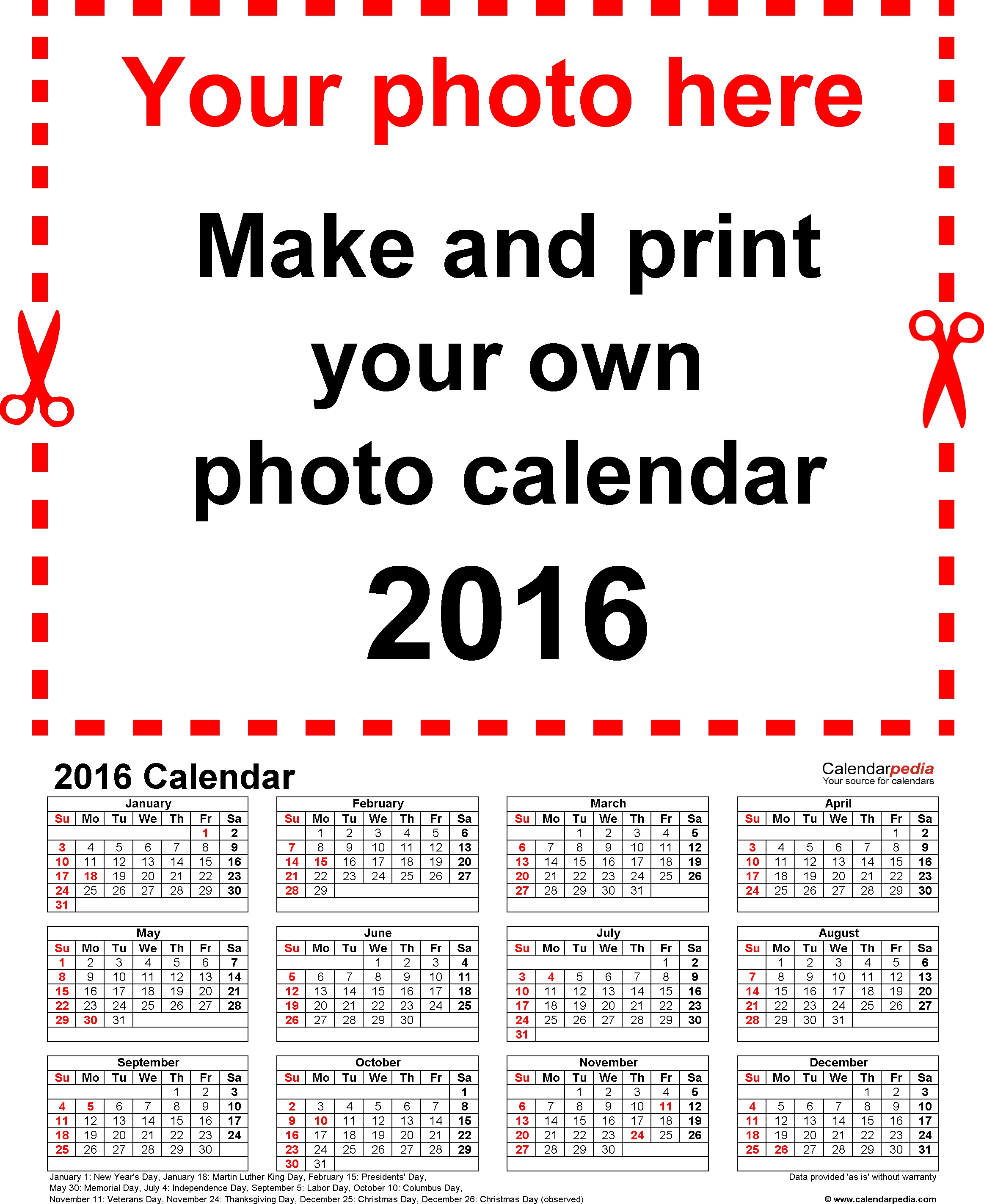 Template 4 Photo Calendar 2016 For Word 12 Pages Portrait Format