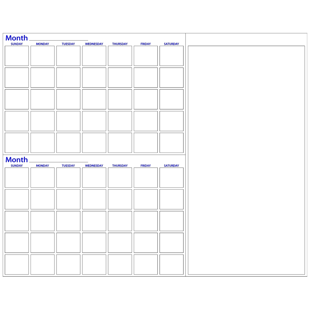 Two Month Dry Erase Calendar With Notes Made4heroes  Xjb