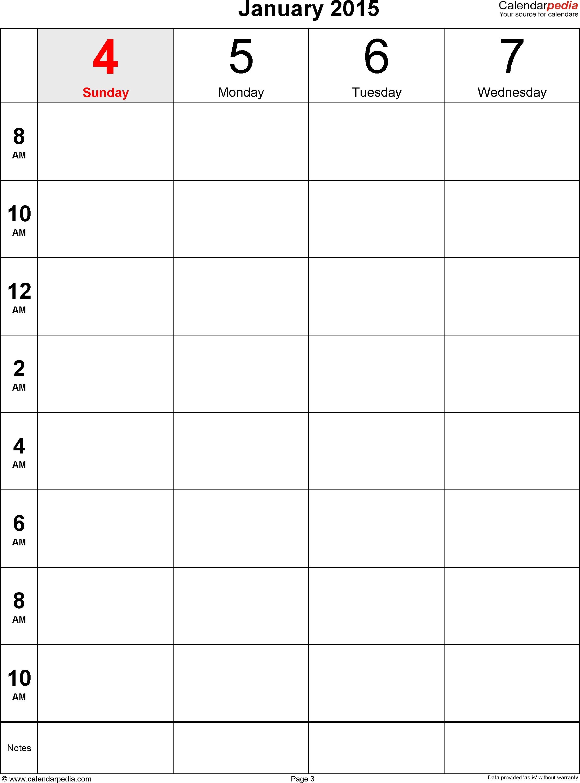 Weekly Calendar 2015 For Pdf 12 Free Printable Templates