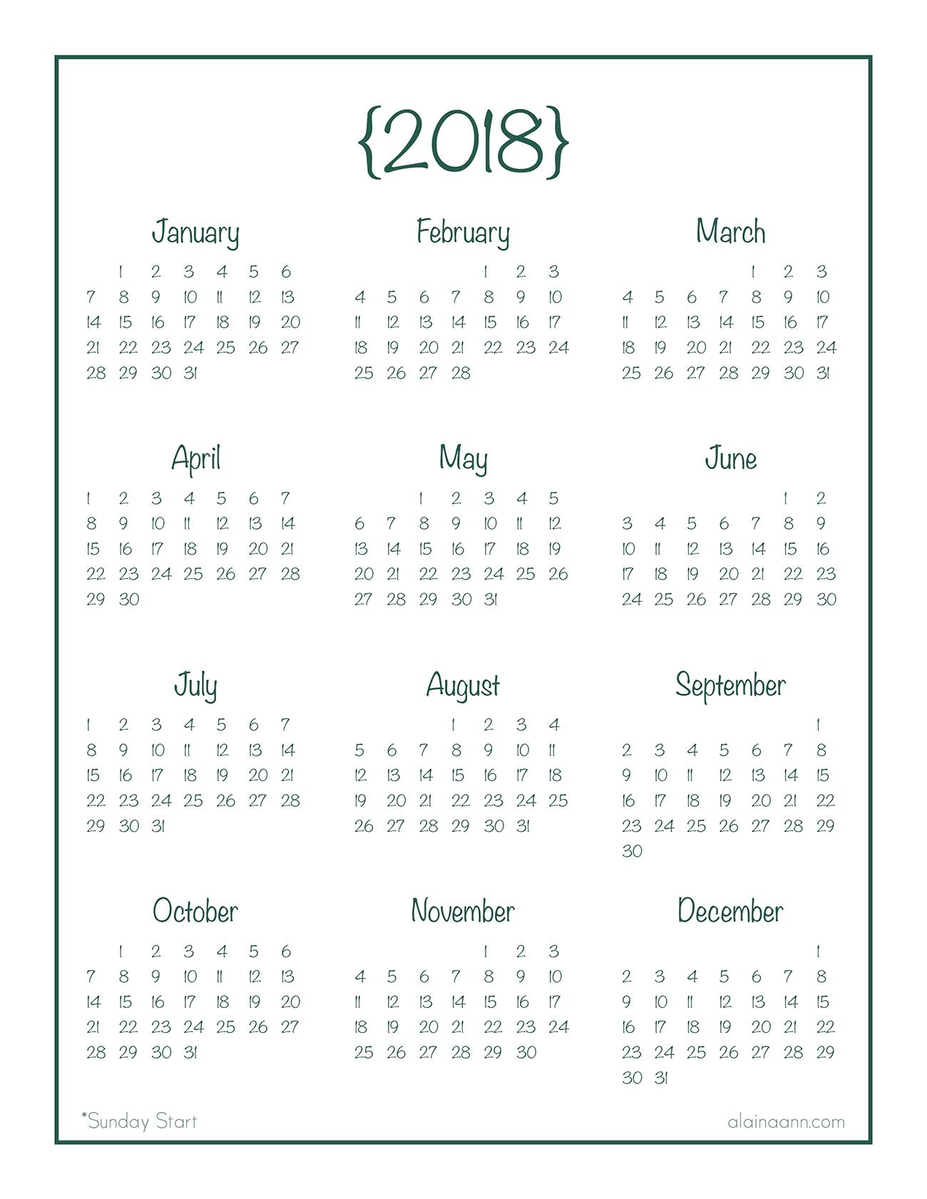 Year At A Glance Calendar Free Printable Alaina Ann