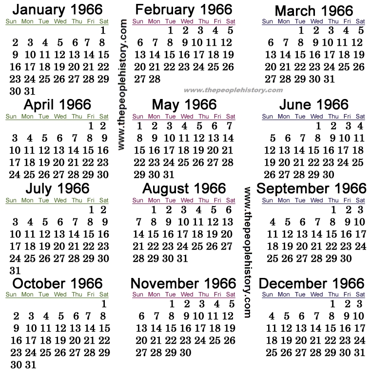 1966 Calendar Events Us And Around The World History
