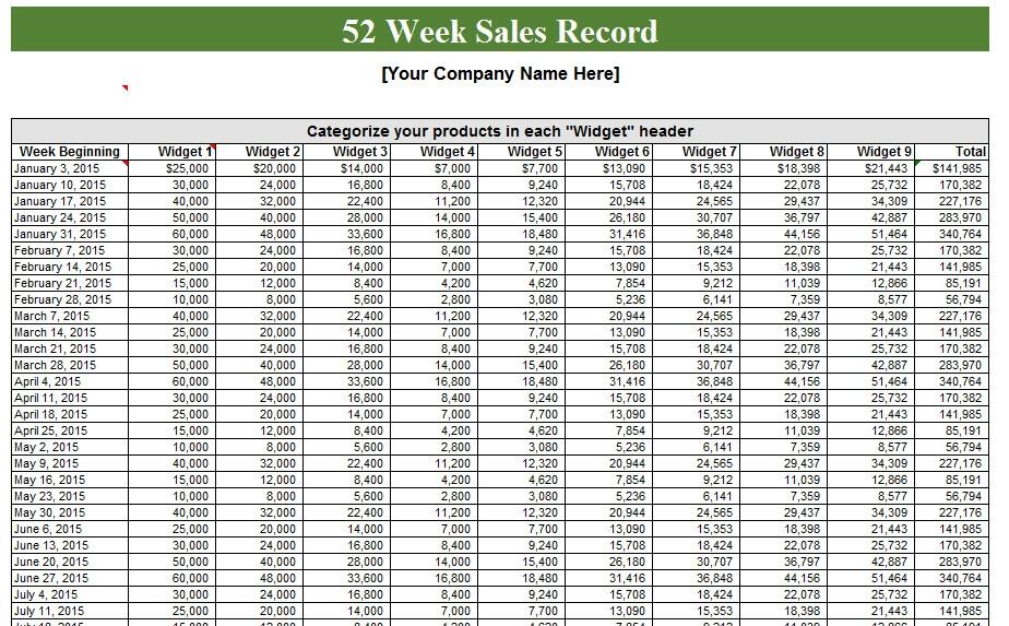 52 Week Calendar Template Tiredriveeasyco