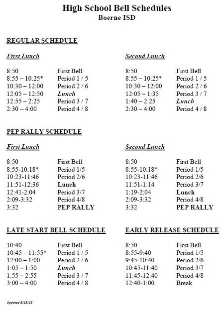Bell Schedule Champion High School
