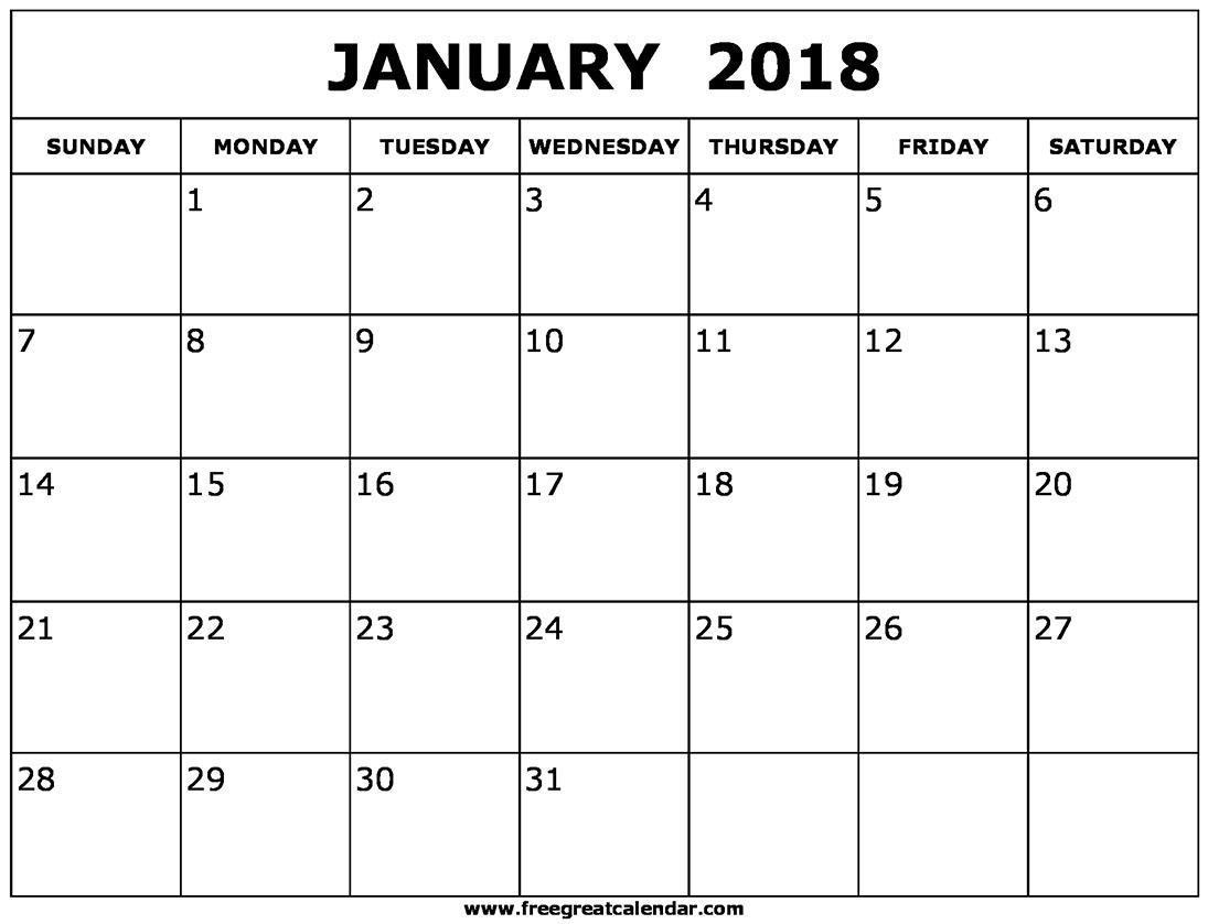 Blank January 2018 Calendar Printable  Xjb