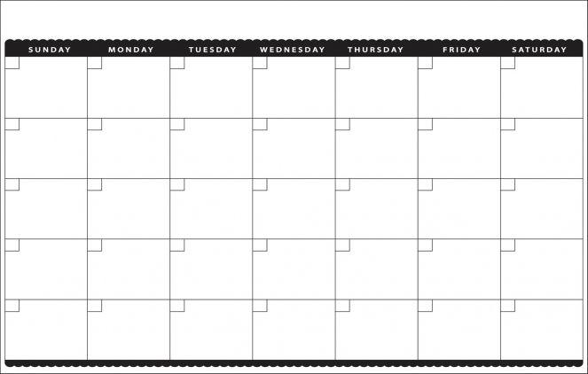 Blank Monthly Calendar Template Printable 11×17 Calendar 1500 X 955
