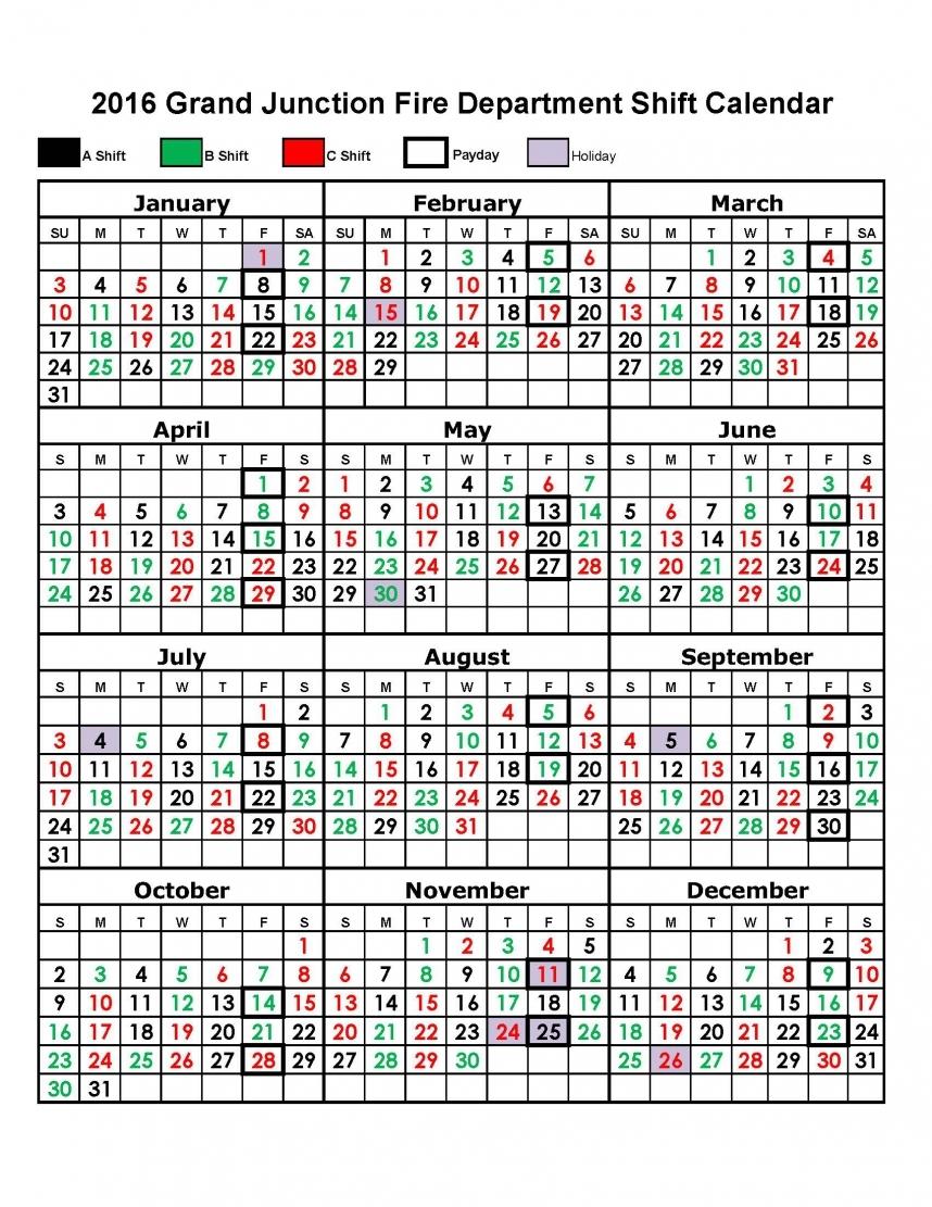Calendar Template Fire Fighter Shifts Calendar Printable 2018
