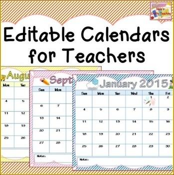 Calendars 2018 2019 Editable Teacher School And Teaching Ideas