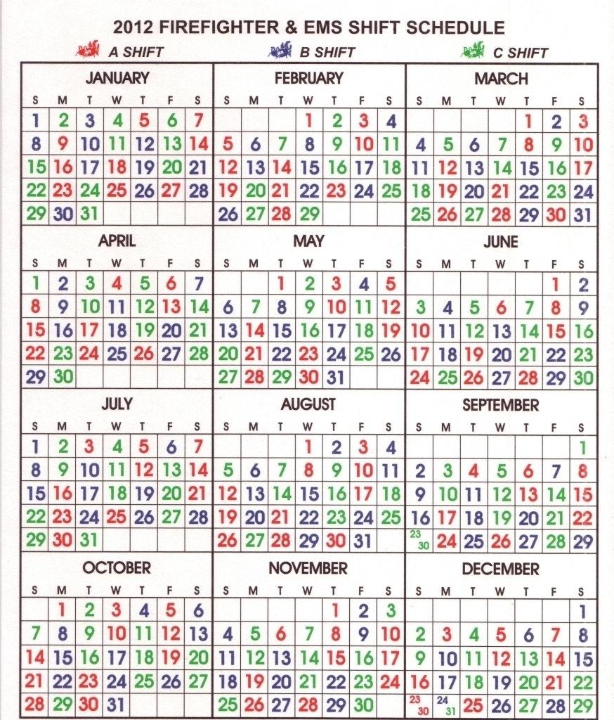 Fire Department Shift Calendar Your Template Firefighter 24  Xjb