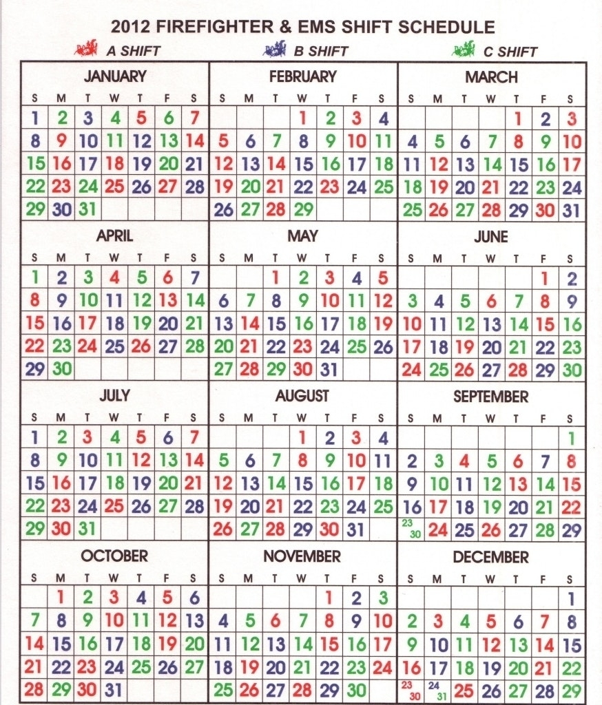 Fire Department Shift Calendar Your Template Firefighter 24