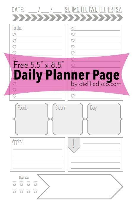 Free 55 X 85 Daily Planner Page Printable Organizacin