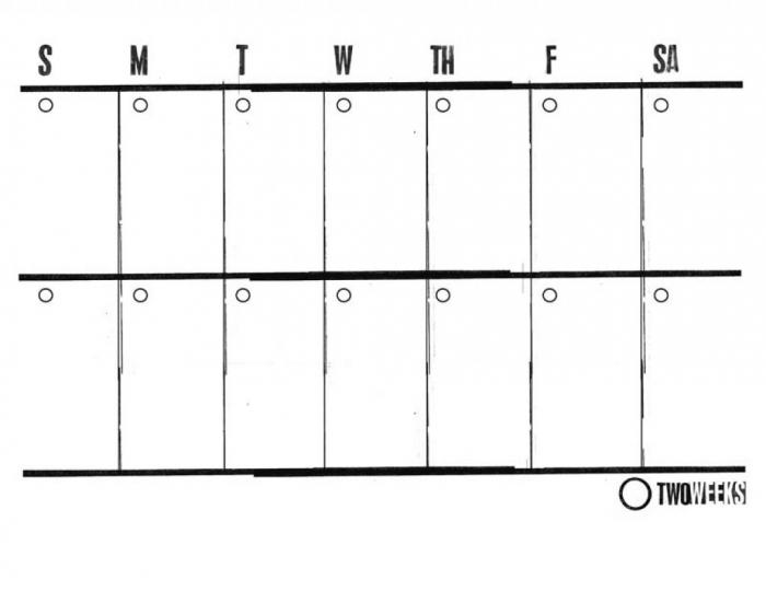 Free Blank 2 Week Calendar Calendar Printable Template