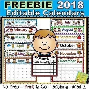 Free Editable Calendars For Teachers Enderrealtyparkco