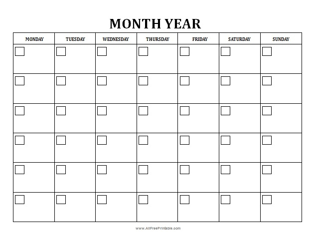 Free Printable Blank Monthly Calendar Onlyagame Free Blank Monthly