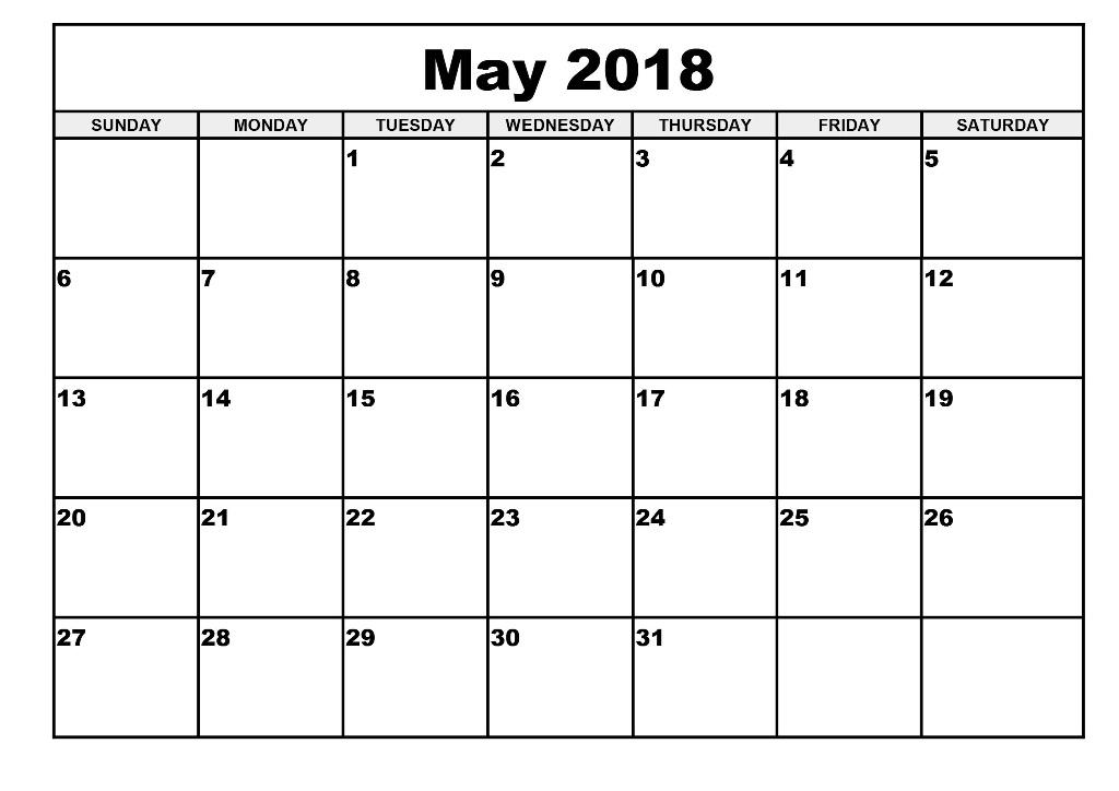 Free Printable Calendar May 2018 Monthly Printable Calendar Template