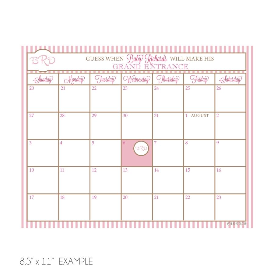 Monogram Due Date Calendar Kateogroup3abry