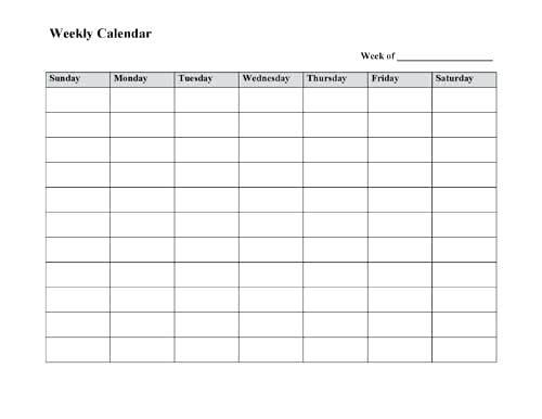 Print Weekly Calendar Blank 4 Week Calendar Print Calendar In Weekly