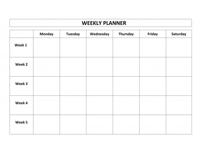 Printable 4 Week Calendar Week Calendar Printable Calendar Part 4 4