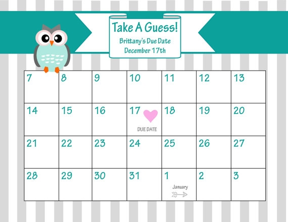 Printable Due Date Calendar Ba Shower Game Guess The Date