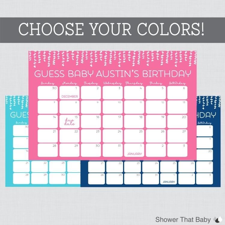 Printable Due Date Guess Calendar Free Calendar Printable Template