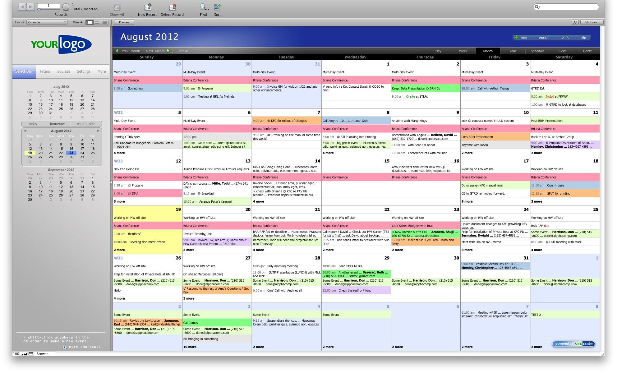 Seedcode Calendar Month View