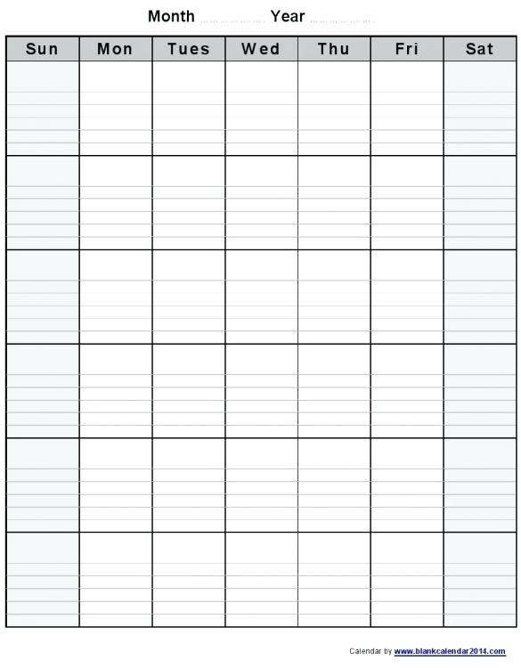 Template Blank Monthly Calendar Template Free Printable Lined 2014