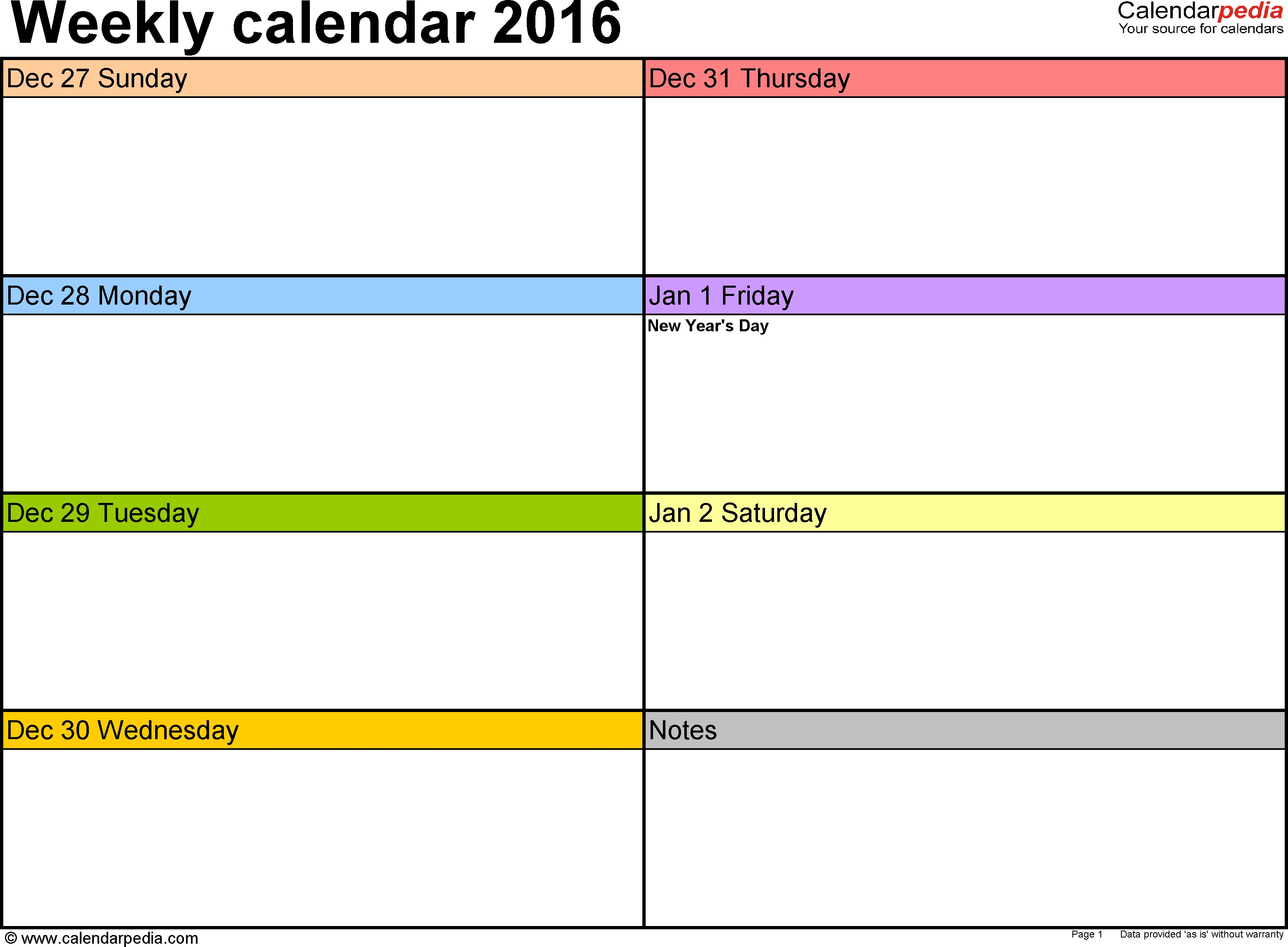 Weekly Calendar 2016 For Excel 12 Free Printable Templates