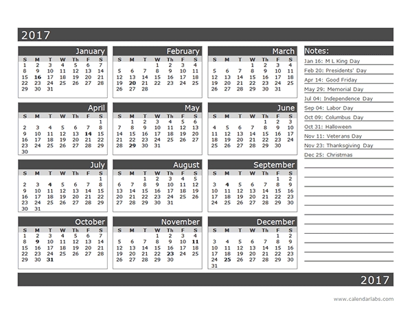 2017 12 Month Calendar Template One Page Free Printable Templates