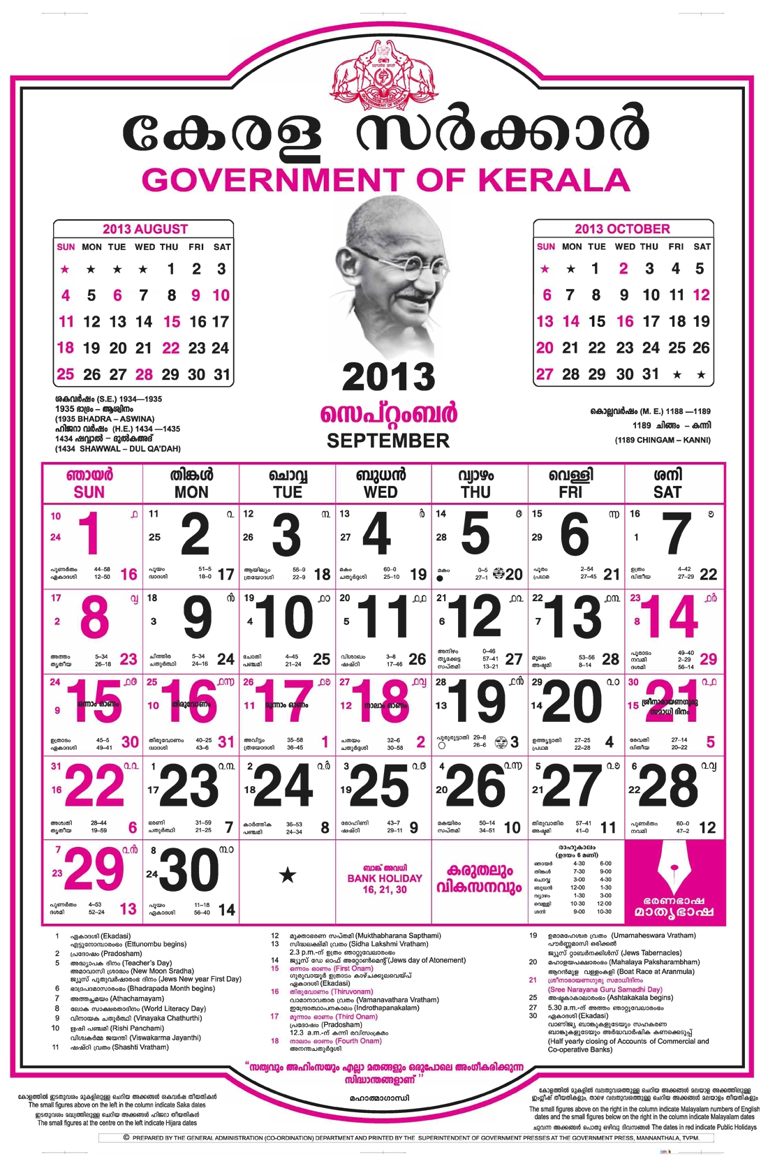 2017 January Calendar With Malayalam Stars Blank Calendar 2018